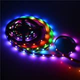 Mokungit 3.2FT 1M 30Pixels/m Programmable LED Strip Light WS2812B WS2811 Built-in 5050 RGB Digital Dream color Flex LED Strip Individual Addressable 30LEDs IP20 Non-waterproof 5V,Black PCB
