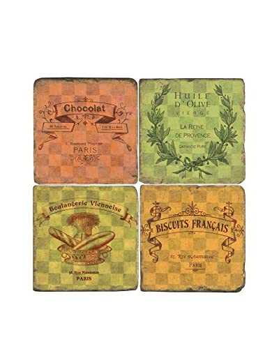 Studio Vertu Set of 4 Bistro Labels Tumbled Marble Coasters with Stand
