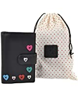 Ladies LEATHER Medium Tab PURSE WALLET by MALA Lucy Collection Handy Heart