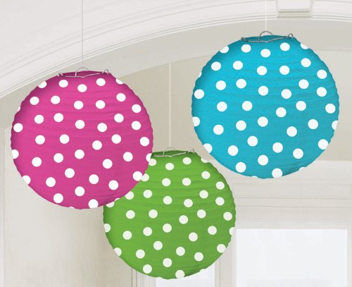 Rainbow Multicolor Polka Dot Paper Lanterns (3ct)
