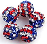 lots of pave shine mixed multi color shamballa beads for jewelry making 10mm (10 beads per lots)
