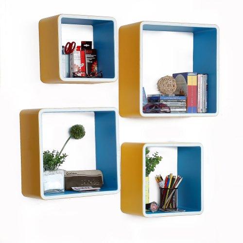 Trista - [Beautiful Life] Square Leather Wall Shelf / Bookshelf / Floating Shelf (Set Of 4) front-109391