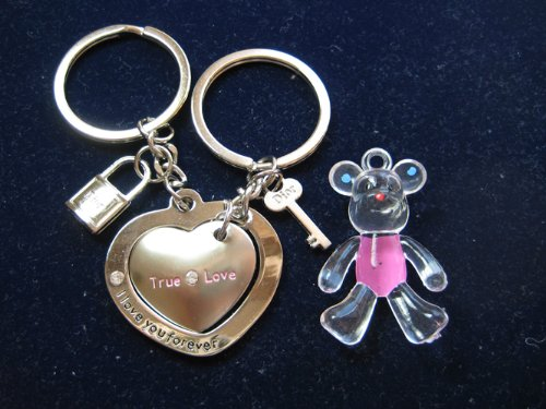 KBF0028 Love you matiching heart Couple keychain with a cute hand painted dog - Gift for couples
