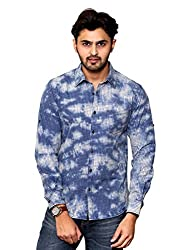 Rafters pink and indigo blue check, full sleeves men's slim fit casual shirt