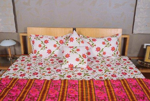 Imagen 4 de Hoja Traditional Floral Design Bed conjunto con cojines a juego Cubra Una colcha y almohada Casos Tamaño 90 x 108 pulgadas