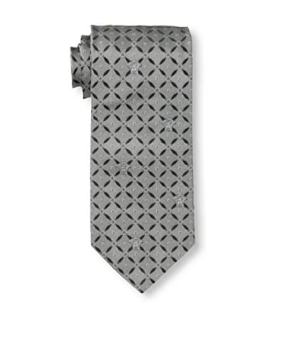 Versace Men's Circle Grid Tie, Grey