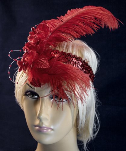 Linda-Anns-Red-Flapper-Girl-Feather-and-Flower-Beads-Sequin-Headband