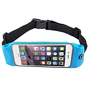 Bee Exercise, Running Waist Pack for 4.7 Inch Screen Cellphone - Outdoor Belt Bag - Touch Operating Directly With Transparent Film, Blue Color