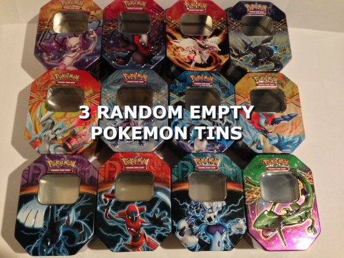 THREE (3) Random Empty POKEMON TINS - Super Variety! Great Collectors Item!