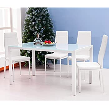 Merax 5PC Glass Top Dining Set 4 Person Dining Table and Chairs Set Kitchen Modern Furniture Dining Dinette (White)