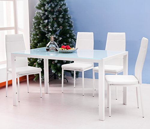 Kitchen Set Node Attributes: Merax 5PC Glass Top Dining Set 4 Person Dining Table And