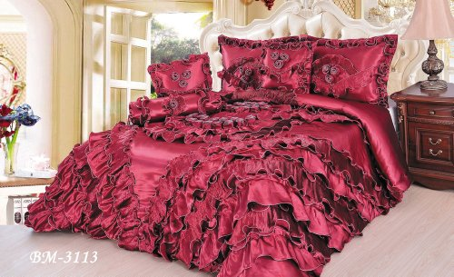 Tache 6 Piece Romantic Sensual Red Passion Faux Satin /Sateen Comforter Set front-493286