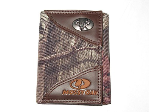 Deer - Mossy Oak Leather Nylon Tri-Fold