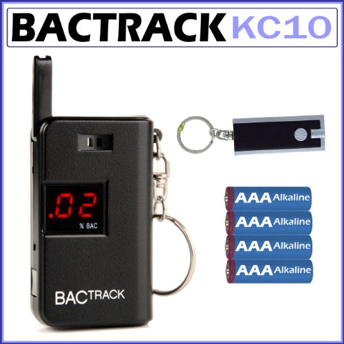 Cheap BACtrack Keychain Breathalyzer Portable Keyring Breath Alcohol Detector with AAA Batteries and Keychain LED Flashlight (KC10/k1)