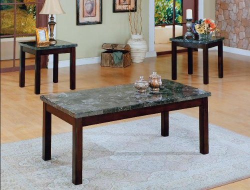 Brand New 3-pk Onyx Coffee Table and End Tables Cocktail set with Black Marble Top