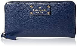Kate Spade New York Wellesley Neda French Navy Leather Wallet Clutch WLRU1153
