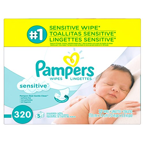 Pampers Baby Wipes Sensitive 5X Refill, 320 count - 1