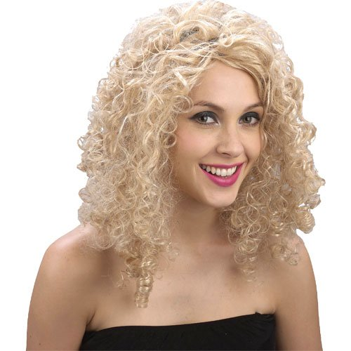 Curly Blonde Fancy Dress Party Wig by Wicked