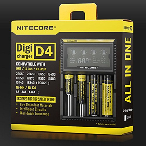 NiteCore Digicharger D4 Caricabatterie Universale pour Li-Ion/IMR/LiFePO4/NiMH/Ni-Cd Akku (Display LCD , Corrente di Uscita: 4x 375mA)