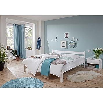 Doppelbett mit Nachttisch massiv weiß lackiert ● Liegefläche 180x200cm ● inkl. Nachtkommode ● Ehebett Gästebett