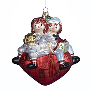 Kurt Adler Polonaise Raggedy Ann and andy Glass Ornament