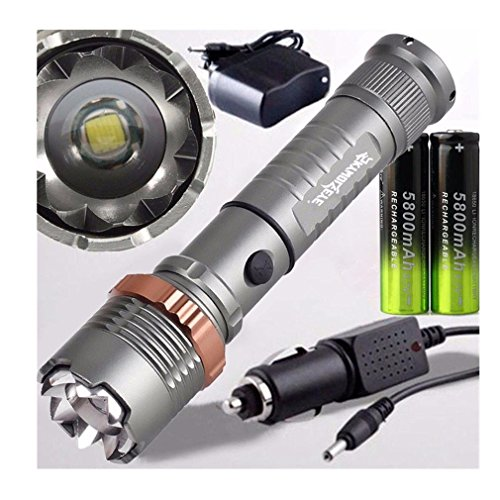 Iuhan® Fashion Tactical Police CREE XML T6 4000LM LED Zoomable Flashlight+18650 Battery+Charger
