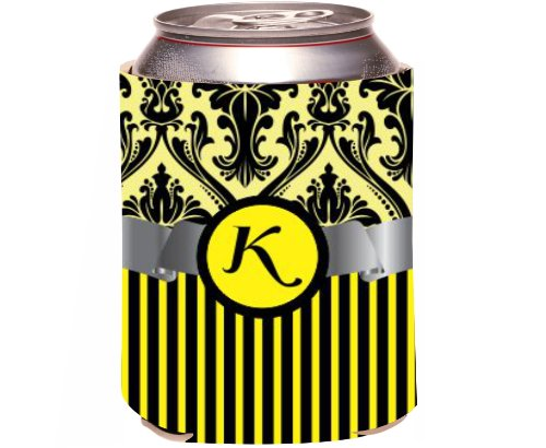 "Rikki Knight Beer Can Soda Drinks Cooler Koozie, Letter ""K"" Initial Monogrammed Design, Damask And Stripes, Yellow front-642921"