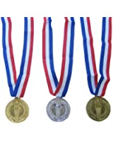 3 Olympic Style Award Medal Set - Gold Silver and Bronze - 3 piece Set - First Second Third Winner - Great for Party Favor Decorations and Awards