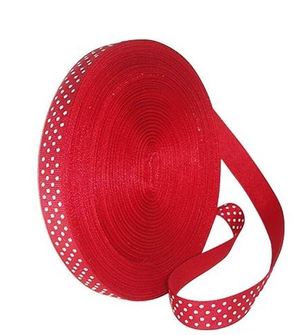 Ruban satin rouge à pois blanc