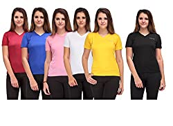 Oleva Ladies Combo set of 6 T-Shirt OMD-17