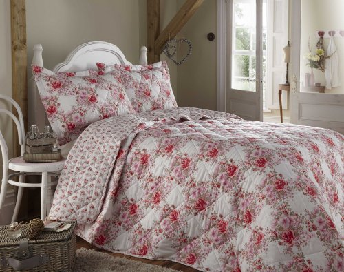 Luxury floral bedspread & pillowshams set for double, king, super king size beds