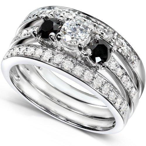 1ct TW Black and White Round Diamond Bridal Set in 14k White Gold (Set of 3)