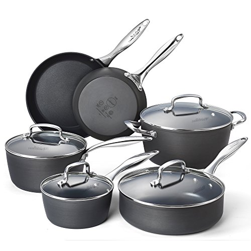 Cooksmark Kingbox 10-Piece Hard-Anodized Dishwasher Safe Nonstick Black Aluminum Cookware Set, Oven Safe (Ovensafe Cookware compare prices)