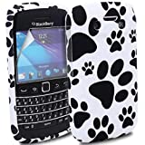 MYNC Black Silicone Gel Rubber Puppies Paws Footprint Case Cover for BlackBerry Bold 9790 Mobile Phone With Free Clear Screen Protector Film Guard & Micro Fiber LCD Screen Polishing Cloth