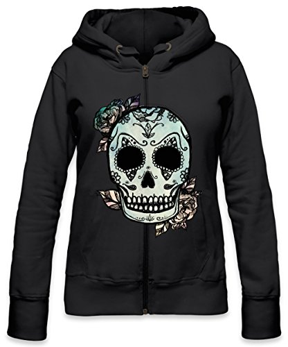 Mexican Sugar Skull Roses Womens Zipper Hoodie Medium