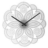 Karlsson Lace Cutout Modern Glass Wall Clock (White, 15 Inch Dia)