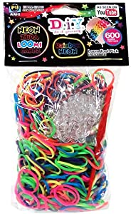 D.I.Y. Do it Yourself Bracelet Zupa Loomi Bandz 600 Neon Rainbow Rubber Bands with 'S' Clips