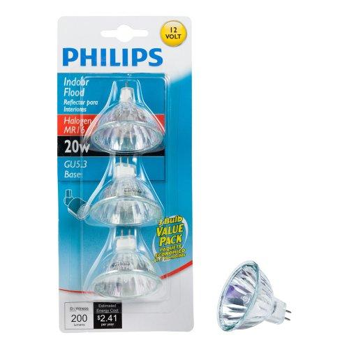 Philips 415687 Indoor Flood 20-Watt MR16 12-Volt Light Bulb, 3-Pack