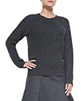 Vince Cable Knit Crew Neck Sweater in Charcoal