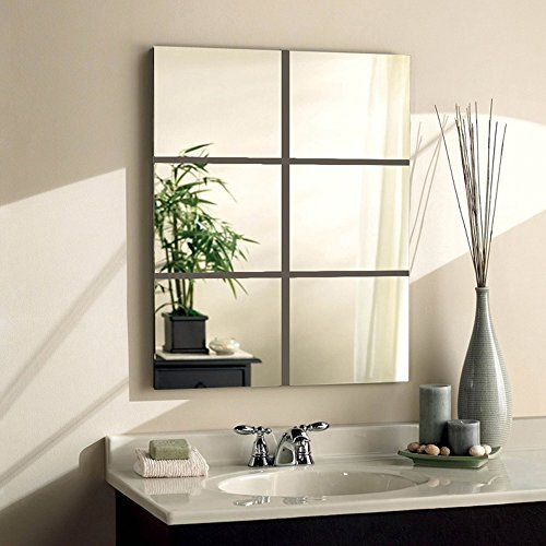 Alrens_DIY(TM)6 Pcs Squares Mirror Wall Stickers DIY 3D Effective Acrylic Crystal Wall Decor Home Decoration Living Room Bedroom Children Room Mural Decal (30x30cm, Style 3)