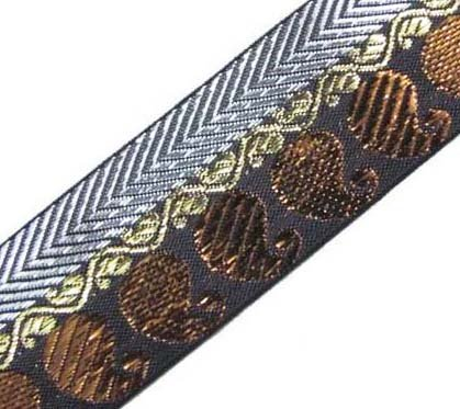 3 Yd Dress Embellishment Brown Metallic Bronze Jacquard Border Ribbon Trim