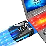 ??Klim Cool Laptop Cooler Fan - Innovative Portable Cooling Design with Display - External Gaming Cooler - High Performance Ventilation - USB Connection - Cooling Pad - Quiet Air Vaccum - Reduce Heat (Color: Blue)
