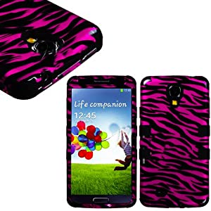 """myLife Black - Pink Zebra Stripe Design (3 Piece Hybrid) Hard and Soft Case for the Samsung Galaxy S4 """"Fits Models: I9500, I9505, SPH-L720, Galaxy S IV, SGH-I337, SCH-I545, SGH-M919, SCH-R970 and Galaxy S4 LTE-A Touch Phone"""" (Fitted Front and Back Solid Cover Case + Internal Silicone Gel Rubberized Tough Armor Skin)"""