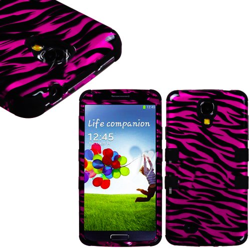 """Mylife (Tm) Black - Pink Zebra Stripe Design (3 Piece Hybrid) Hard And Soft Case For The Samsung Galaxy S4 """"Fits Models: I9500, I9505, Sph-L720, Galaxy S Iv, Sgh-I337, Sch-I545, Sgh-M919, Sch-R970 And Galaxy S4 Lte-A Touch Phone"""" (Fitted Front And Back So"""