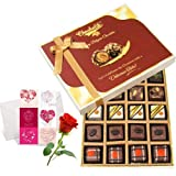 Valentine Chocholik's Belgium Chocolates - Sweet Magic Chocolate Gift Box With Love Card And Rose