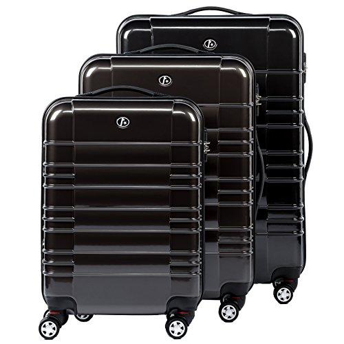 FERGÉ Set di tre valigie NICE - bagaglio rigide duro da 3 - tre pz. valigie con 4 ruote (360) ABS & PC antracite-metallico