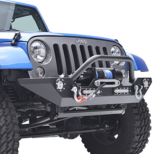 E-Autogrilles 07-16 Jeep Wrangler JK Black Textured Rock Crawler Front Bumper with LED Lights & D-Ring & Bulit-in Winch Mount Plate (51-0308L)