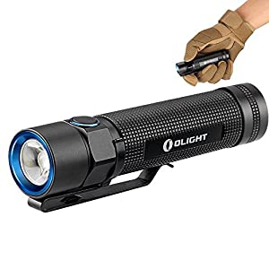 Lampe Torche LED Cree XM-L2 CW 950 Lumens Etanche IPX8 Alimentée par Batterie Lithium 1x18650 ou 2xCR123A(Non incluse) Grande Autonomie 24 Heures Lampe de Poche Guarantie de 5 Ans - Olight® S2 Baton