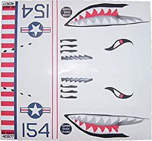 KA Mixer Decal Cover Kit Flying Tiger Shark Plane Decal Sticker Red, White, Navy Blue, and Black, Designed to Fit All Kitchenaid Stand Mixers, Including Pro 600, and Artisan. Mixer Not Included.