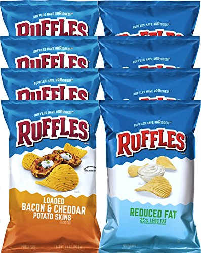 Ruffles Loaded Bacon & Cheddar Potato Skins & Ruffles Classic Reduced Fat 25% Less Fat Snack Care Package for College, Military, Sports 8.5 Oz Bag (8) (Ruffles Bbq Chips compare prices)